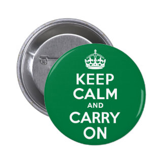 Keep Calm and Carry On Green 6 Cm Round Badge