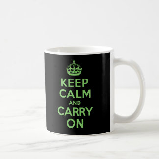 Keep Calm And Carry On Green and Black Classic White Coffee Mug