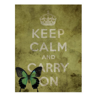 Keep Calm and Carry On Green Grunge With Butterfly Postcard