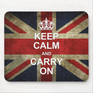 Keep Calm and Carry On - Grunge British Flag Mouse Pad