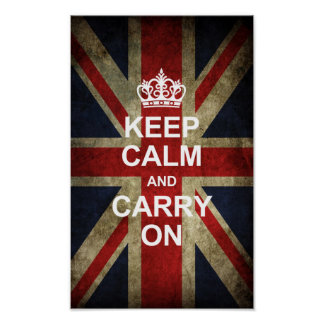 Keep Calm and Carry On - Grunge British Flag Posters