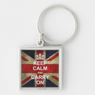 Keep Calm and Carry On - Grunge British Flag Silver-Colored Square Key Ring