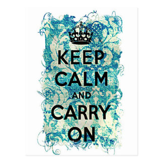 Keep Calm and Carry On Grunge Wallpaper Damask Postcard