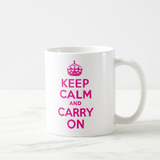 Keep Calm And Carry On Hot Pink Best Price Basic White Mug