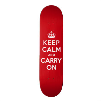 Keep Calm and Carry On London Red Skateboard Deck