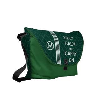 KEEP CALM AND CARRY ON Monogram Racing Stripe Messenger Bags