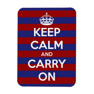 Keep Calm and Carry On Nautical Stripe Rectangle Magnet