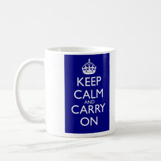 Keep Calm And Carry On: Navy Blue Basic White Mug