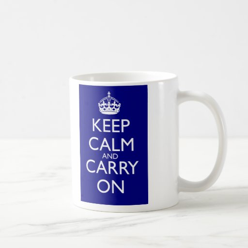 Keep Calm And Carry On: Navy Blue Mugs
