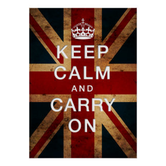 """Keep Calm and Carry On"" on Union Jack Poster"