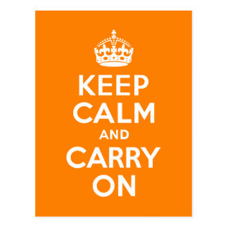 Keep Calm and Carry On Orange Postcard
