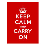 keep calm and carry on Original Post Cards