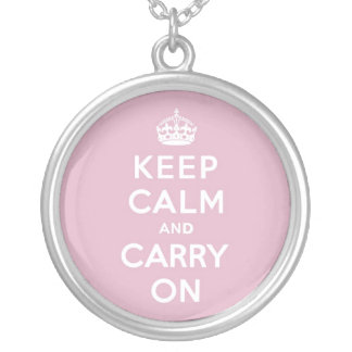 Keep Calm and Carry On Persian Rose Silver Plated Necklace