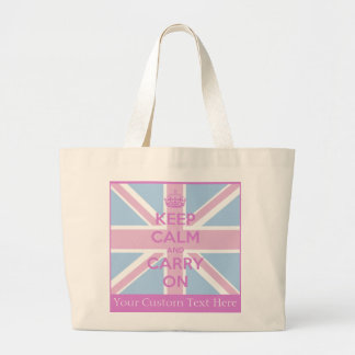 Keep Calm and Carry On Pink and Blue Union Jack Large Tote Bag