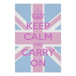 Keep Calm and Carry On Pink and Blue Union Jack Poster