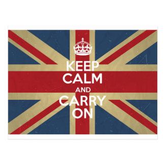 Keep Calm And Carry On Postcard