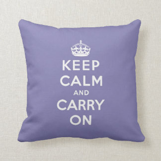 keep calm and carry on -  Purple and white Cushion