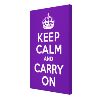 Keep Calm and Carry On Purple Wrapped Canvas