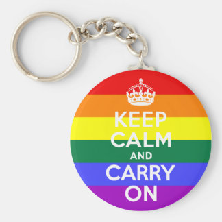 Keep Calm and Carry On Rainbow Key Ring