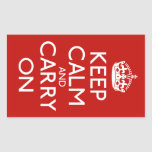 Keep Calm And Carry On Rectangular Sticker