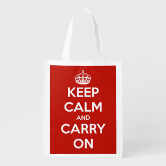 Keep Calm and Carry On Red and White Personalized Reusable Grocery Bag