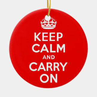 Keep Calm and Carry On Red Ceramic Ornament
