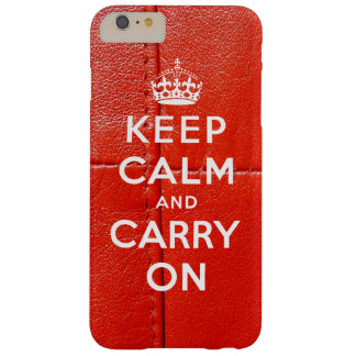 Keep Calm and Carry On Red Leather Printed Barely There iPhone 6 Plus Case
