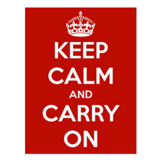 Keep Calm and Carry On Red Postcard