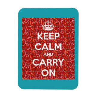 Keep Calm and Carry On Red Retro Pattern Rectangle Rectangular Photo Magnet