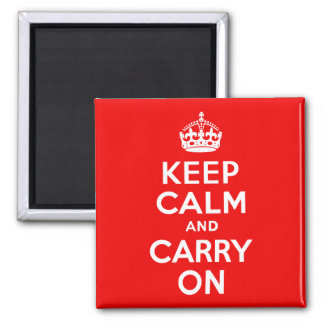 Keep Calm and Carry On Red Square Magnet