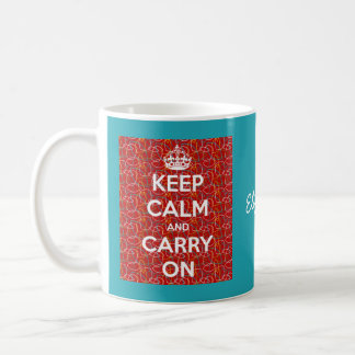 Keep Calm and Carry On Retro Red Diner Personalize Coffee Mug