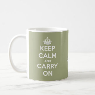 Keep Calm and Carry On Sage Green Personalised Coffee Mug
