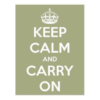 Keep Calm and Carry On Sage Green Postcard