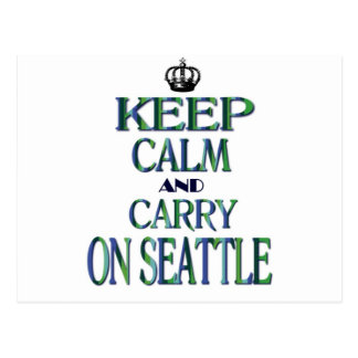Keep Calm and Carry On Seattle Postcard