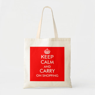 KEEP CALM AND CARRY ON SHOPPING tote bag