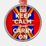 KEEP CALM AND CARRY ON Silver-Colored ROUND DECORATION