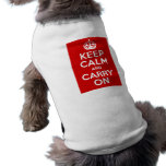 Keep Calm and Carry On Sleeveless Dog Shirt