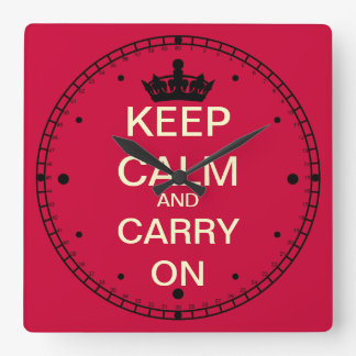 Keep Calm And Carry On Square Wall Clock