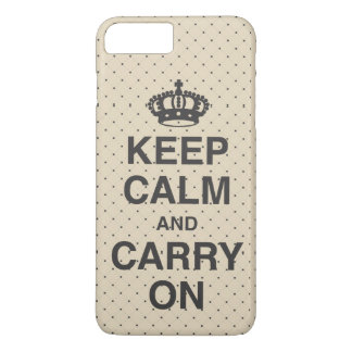 KEEP CALM AND CARRY ON / Tan iPhone 8 Plus/7 Plus Case