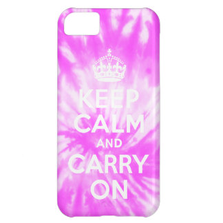Keep Calm and Carry On Tie Dye Pink iPhone 5 Case