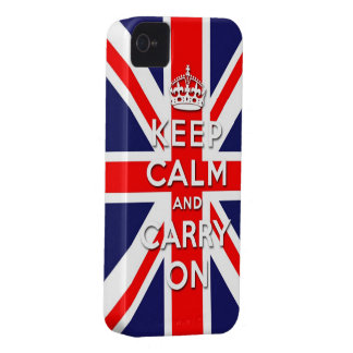 keep calm and carry on Union Jack flag iPhone 4 Case-Mate Case