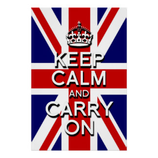 keep calm and carry on Union Jack flag Poster