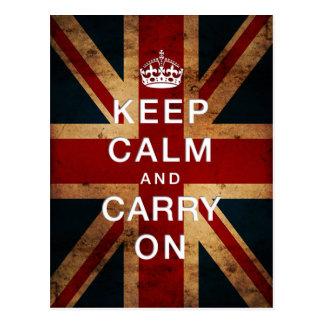 """Keep Calm and Carry On"" (Union Jack) Postcard"