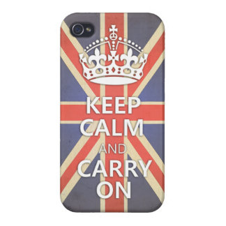 Keep Calm and Carry On United Kingdom Union Jack iPhone 4/4S Cover