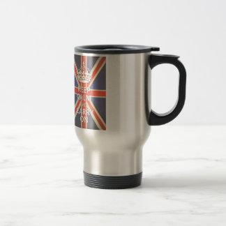 Keep Calm and Carry On United Kingdom Union Jack Travel Mug