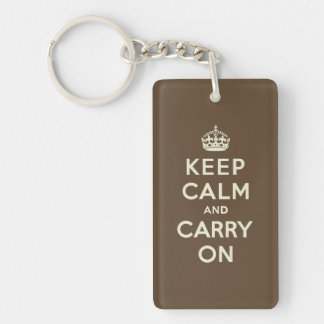 Keep Calm and Carry on Vanilla on Chocolate Brown Double-Sided Rectangular Acrylic Key Ring