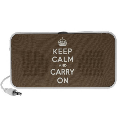 Keep Calm and Carry on Vanilla on Chocolate Brown Laptop Speaker