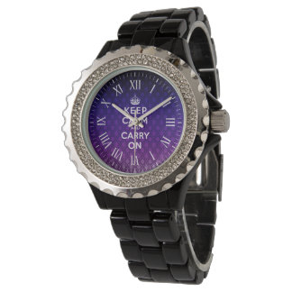Keep Calm And Carry On | vintage purple damask Watch