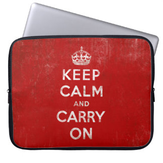 Keep Calm and Carry On, Vintage Red and White Laptop Sleeves