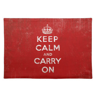 Keep Calm and Carry On Vintage Red Placemats